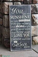 Domwtyrper Wandtafel mit Zitat You Are My Sunshine
