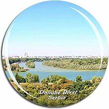 Donau Belgrad Serbien Kühlschrankmagnet 3D