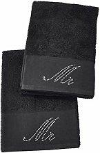 DONE Gästehandtuch Doppelpack Black-Line Stone -