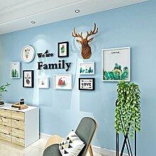 DONG Foto wand Rahmen Set Massivholz Wohnzimmer Elch Pflanzen hängen Wand Wandbild Kombinationen dekorative Wohnaccessoires ( Farbe : Schwarz und weiß )