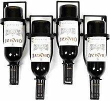 Dongyd Wine Rack 4 Flaschen Black Metal Weinregal