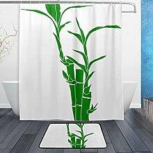Donola Bambus-Duschvorhang-Set mit Badvorleger,
