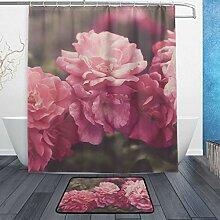 Donola Rose Garden Vintage Duschvorhang-Set mit