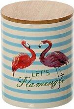 DonRegaloWeb–Vorratsdose aus Keramik mit Deckel aus Holz verziert mit Flamingos mit verschiedene Farben