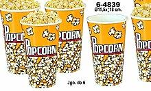 DonRegaloWeb Popcorn-Becher aus melamin, 6Stück