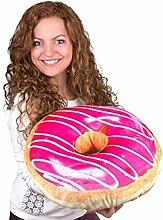 Donut Kissen Glasur pink, weiße Verzierung extra