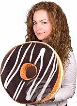 Donut Kissen Schokoladenglasur, weiße Verzierung