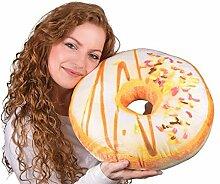 Donut Kissen Weiße Glasur, bunte Streusel,