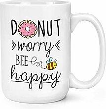 Donut Sorgen Bee Happy 15oz Groß Becher Tasse