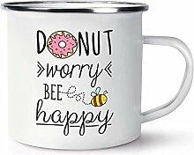 Donut Sorgen Bee Happy Retro Emaille Becher Tasse