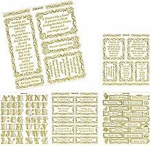 doodey doppelt geprägt Scrapbook Craft Aufkleber, Aufkleber, Gold-/cremefarben, 2x große