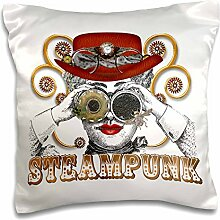 Dooni Designs Steampunk Designs – Blick steampunked Steampunk Collage Kunst – Kissen Fall, Satin, weiß, 16x16 inch Pillow Case
