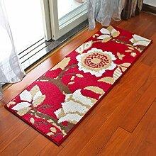 Door mats PRIDE S Europäische Matte Matratze Tür Eingang Küche lange Fußballen Tür zur Badezimmertür Badezimmer Antirutsch - saugfähige Kissen (farbe : Deciduous Trees - Red, größe : 80*110cm)