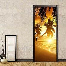 Door Mural 23D Door Sticker Sunrise Beach