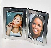 Doppel-Fotorahmen Bilderrahmen 10 x 15 cm Silber