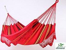 Doppel Hängematte Solar Vermelha mit Borte aus 100% Baumwolle Tuchhängematte von Denana