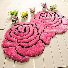 Doppel Rose Teppich Eingang Kaffeetisch Schlafzimmer Bettvorleger 90 × 160cm Doppel Roses ( Farbe : Pink )