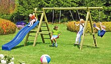 Doppel-Schaukel aus Holz für die Kinder im Garten