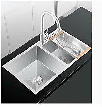 Doppel Schüssel Küchenspüle Wasserhahn Set, 304