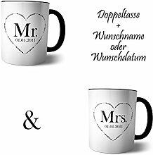 Doppel Tasse 'Mr and Mrs' + Namen oder