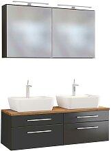 Doppel Waschplatz mit 2 Spiegelschränken dunkel