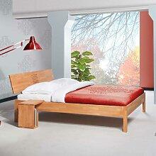 Doppelbett aus Buche Massivholz Nachttisch