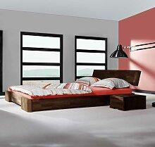 Doppelbett aus Buche Massivholz Nussbaumfarben