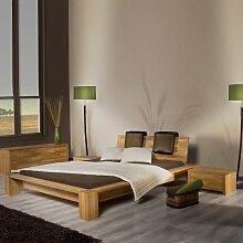 Doppelbett aus Eiche Massivholz Polster
