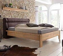 Doppelbett aus Eiche Polsterkopfteil in Braun