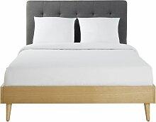 Doppelbett aus Eukalyptusholz mit anthrazitgrauem