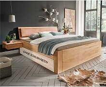 Doppelbett aus Kernbuche Massivholz gepolstertem