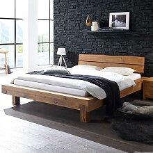Doppelbett aus Wildeiche Massivholz Landhausstil