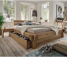 Doppelbett aus Wildeiche Massivholz Schublade