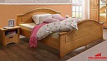 Doppelbett Bett mit 2 Nachtkonsolen 407181 Kiefer Massiv Natur 180x200cm