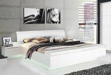 Doppelbett Ehebett Bettgestell Bett 62825 mit Nachtkonsolen u. Fußbank 180 x 200 cm weiß / weiß Hochglanz