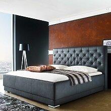 Doppelbett in Schwarz Kunstleder gestepptem