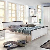 Doppelbett in Weiß Braun Kiefer Massivholz