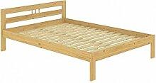 Doppelbett Kieferbett natur 140x200 Massivholz Futonbett Französisches Bett Rollrost 60.64-14