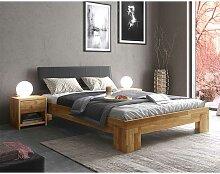 Doppelbett mit Konsolen in Eiche und Schwarz
