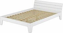 Doppelbett mit Rollrost 140x200 Futonbett Bettgestell Holzbett Massivholz Kiefer Weiß 60.54-14 W