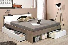 Doppelbett Morris 2 Eiche Silber Nb 160x200 Ehebett Bett Schlafzimmer Bettgestell