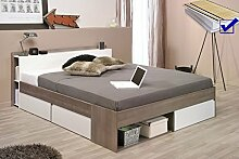 Doppelbett Morris 2 Eiche Silber Nb 160x200 Lattenrost Matratze Ehebett Bett Schlafzimmer