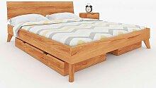 Doppelbettgestell aus Kernbuche Massivholz