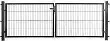 Doppelflügeltor in anthrazit, 300 x 80 cm (B x H), zum Anschluss an Stabmattenzäune inkl. Befestigungsmaterial