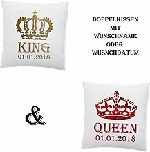Doppelkissen King und Queen + Namen oder Datum