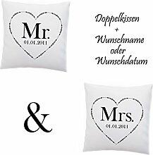 Doppelkissen Kissen 'Mr and Mrs' + Namen
