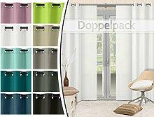 Doppelpack - blickdichte Ösen- oder Schiebevorhänge aus edlem Panamagewebe - grob strukturierter Stoff in 10 Farben, Schiebevorhang, weiß