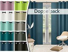 Doppelpack - blickdichte Ösen- oder Schiebevorhänge aus edlem Panamagewebe - grob strukturierter Stoff in 10 Farben, Schiebevorhang, blau