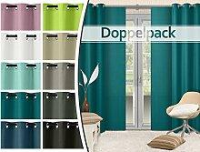 Doppelpack - blickdichte Ösen- oder Schiebevorhänge aus edlem Panamagewebe - grob strukturierter Stoff in 10 Farben, Schiebevorhang, petrol