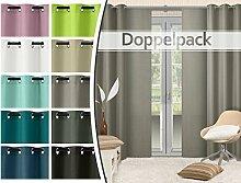 Doppelpack - blickdichte Ösen- oder Schiebevorhänge aus edlem Panamagewebe - grob strukturierter Stoff in 10 Farben, Ösenschal, taupe